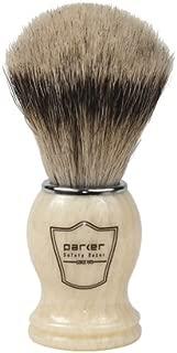 Parker Safety Razor 100% Silvertip Badger Bristle Shaving Brush (Ivory Handle) & Free Shaving Brush Stand