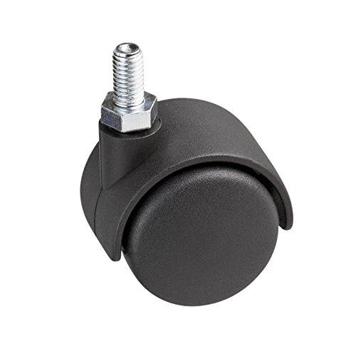 Metafranc Doppelrolle Ø 40 mm - mit Schraube - Kunststoff-Rad - Harte Lauffläche - Gleitlager - 20 kg Tragkraft / Transportrolle / Möbelrolle / Containerrolle / Parkettrolle / 800140
