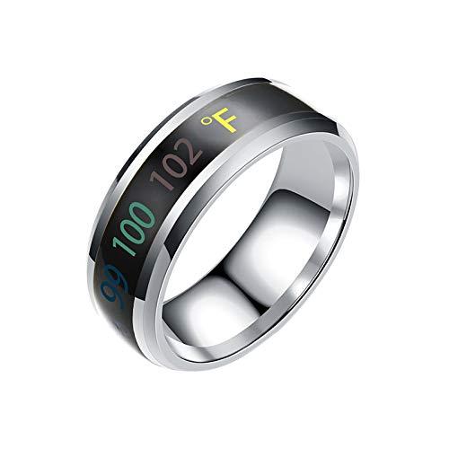 AILIEE Ringe Für Damen & Herren Erfassung Von Temperaturänderungen Ringschmuck New Intelligent Temperature Couple Ring Mood Display Damenring Freundschaftsringe Partnerringe(Silber,9)