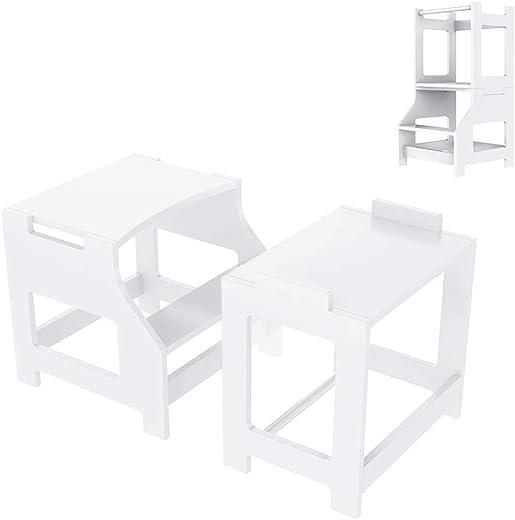 Küchenhocker für Kinder lernen, Tritthocker Lernturm Kinder Schemel aus Holz in Tisch & Stuhl Set, Kindermöbel Learning Tower, Toilettenhocker...