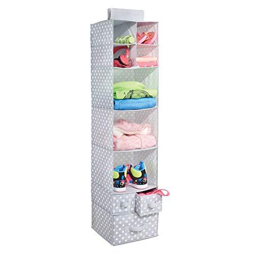 mDesign Organizador Colgante con 7 estantes y 3 cajones – Armario Perchero de Tela con Estampado de Puntos – Colgador para Zapatos Ideal para el Pasillo y el Dormitorio – Gris/Blanco