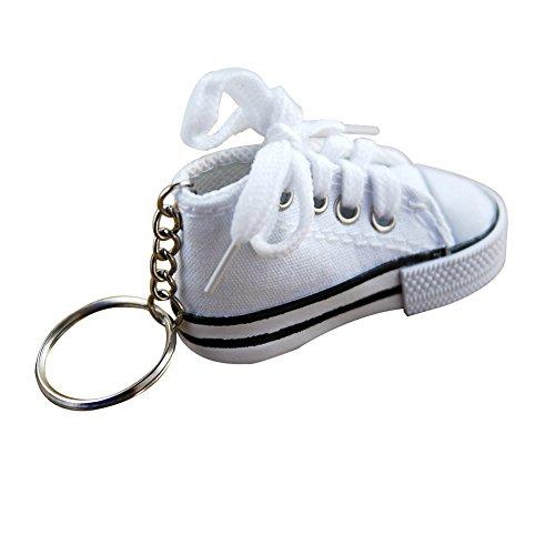Billty Schlüsselanhänger aus Segeltuch mit Schuh-Motiv, Handtaschen-Anhänger, für Damen und Herren, Souvenir, Geburtstagsgeschenk, weiß, 7.5×3.5×3.5CM