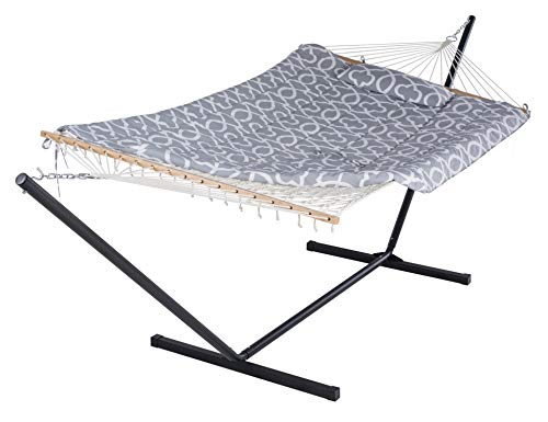 SUNCREAT Cotton Rope Hammock for Two People with Hardwood Spreader Bars, Quilted Fabric Pad &...