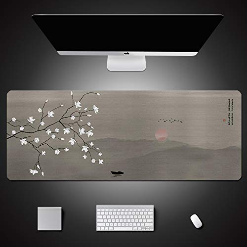 AUYTQ Large Gaming Mouse Pad, Chinese Style Landscape Painting With White Flowers 90X40 Cm With Non-Slip Base,Waterproof And Foldable Pad,Extended Xxl Size,Desktop Pad Suitable For Gamers,Suitable For