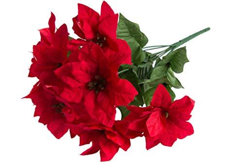 Jasaco künstlicher Poinsettienbusch (Weihnachtsstern) mit 9 Blüten, samtig Farbe: rot
