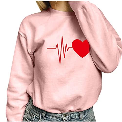 Langarm-Sweatshirt mit Aufdruck Love Fashion Damen Pullover Casual mit rundem Ausschnitt und lockerem Langarm-Sweatshirt für den Außenbereich hält warm, Grün 5, Large