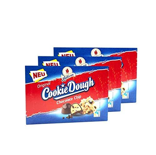 3x Halloren Original Cookie Dough Chocolate Chip (3x 150g) • Choco Chips, Keksteigfüllung, Vollmilch- & Zartbitterschokolade