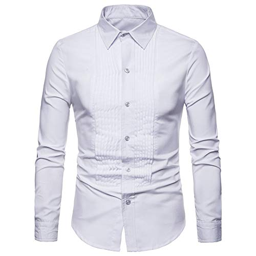 Men Shirt Long Sleeve Slim Fit Easy Iron Blouse Contrast Lines Design Kent Collar Business Casual Men Shirts Classic Chic Lightweight Perfect Shirt Formal Work Men Tops XL