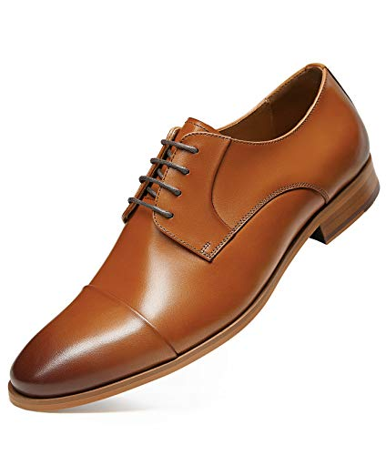 GIFENNSE Men's Dress Shoes with Cowhide Leather Oxford for Suit Formal Dress 11 Brown