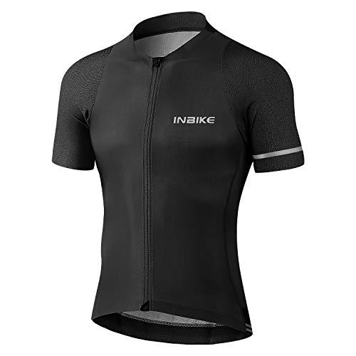INBIKE Maglia da Ciclismo Attillata Professionale Stretto al Corpo Estivi Elevata Elasticità Slim Fit Traspirante Magliette Jersey Abbigliamento Uomo(Nero,L)