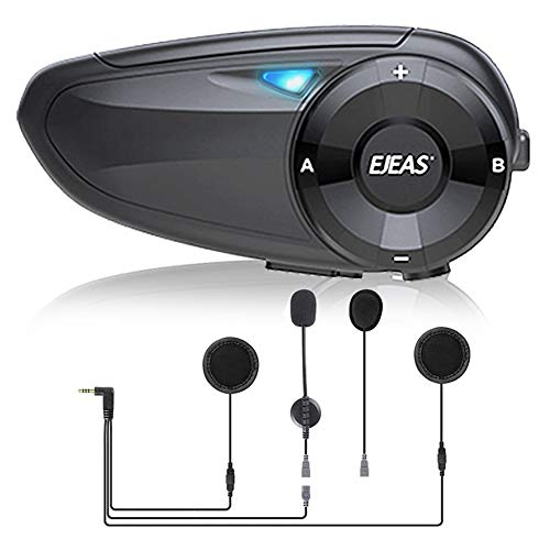 EJEAS Q7 Intercomunicador Casco Moto Bluetooth con Radio FM,Sistema Comunicador Casco de Reducción de Ruido, Manos Libres para Moto, Se Pueden Conectar hasta 7 Pasajeros, 800M para Moto/Off-Road