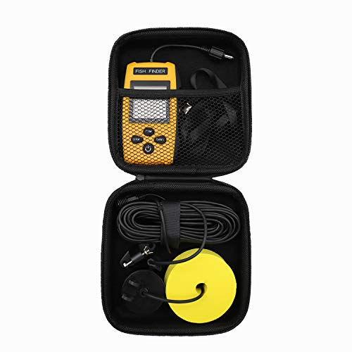 RICANK Hard Travel Case for RICANK/Lucky/Venterior VT-FF001 Handheld Fish Finder Portable Fishing Kayak Fishfinder Fish Depth Finder Fishing Gear Sonar Transducer Contour Readout Fishfinder Case Black