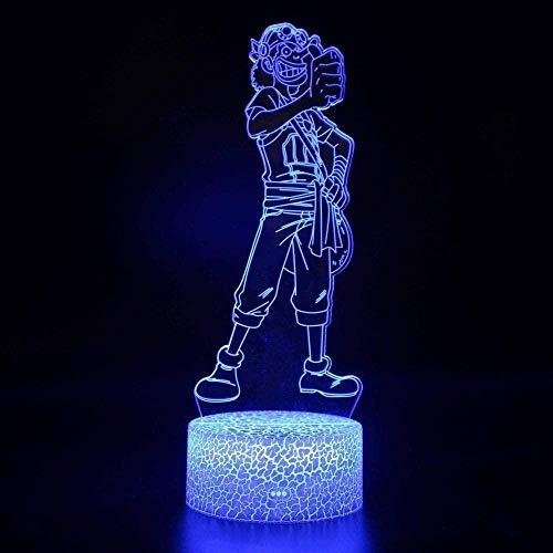 GEZHF Cartoon Anime Charakter 3D Illusion Nachtlicht Kinder Stimmung Licht 7 Farben Fernbedienung und Touch-Button Licht Weihnachtsgeschenk.