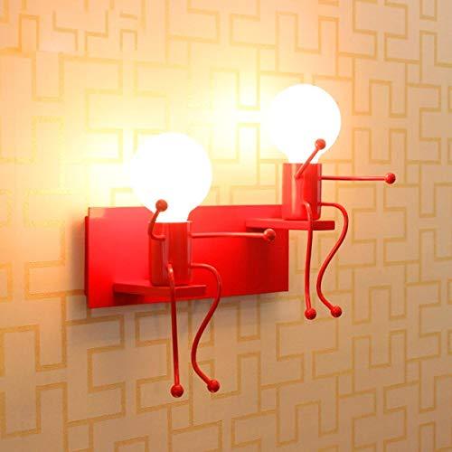 Vintage kinderen retro design creatieve verlichting binnen LED wandlamp hal wandlamp woonkamer slaapkamer loft restaurant cafe bar eenvoudig decoratief E27 x 2 antiek Red