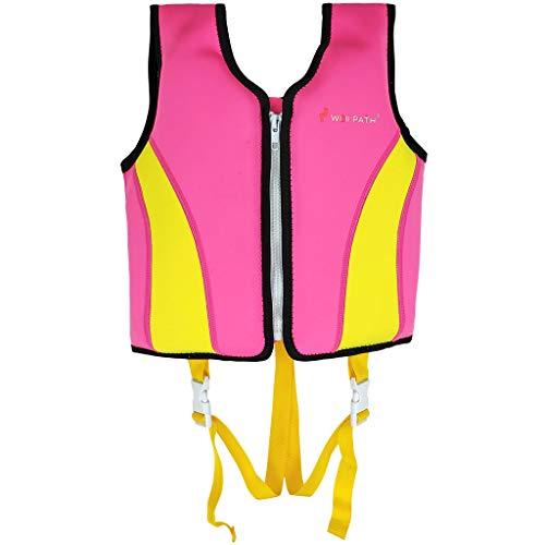 Schwimmweste Kinder aus Neopren, Schwimmjacke Schwimmlernweste für Jungen Mädchen Schwimmen Badeanzug Schwimmende Bademode Schwimmweste Baby 6-9 Jahre, Rose