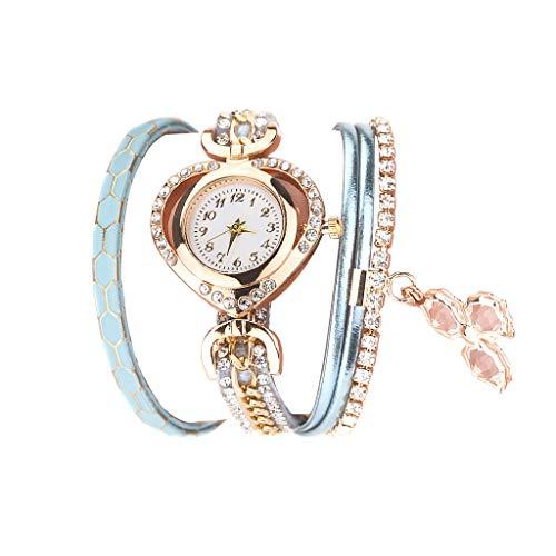 Fenverk Damen Schöne Mode Design Strass Armband,Armbanduhr Damen Mode Frauen Mädchen Analog Quarz Eule Anhänger Damen Kleid Armband Uhr Armbanduhr Armband Uhr Uhren(A#04)