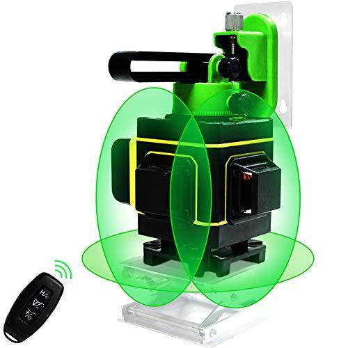 12 linee 3D Autolivellante Livello laser 360X3 Orizzontale Verticale Croce Linea diritta/inclinata Linee verdi ricaricabili Montaggio a parete Telecomando Alimentazione batteria Display