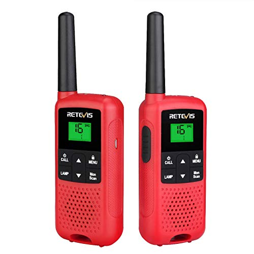 Retevis RT649B Walkie Talkie, PMR446 Licencia Libre, 16 Canales, Linterna LED, Batería Recargable 3AA, Escaneo VOX, CTCSS/DCS, Walkie Talkie Recargable para Exteriores (2 Piezas, Rojo)