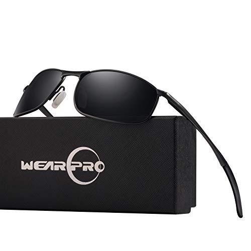 wearpro Sonnenbrille Herren Sportbrille Driving Polarisierte Männer Al-Mg Metall Rahme Ultra Leicht WP1015, Schwarz