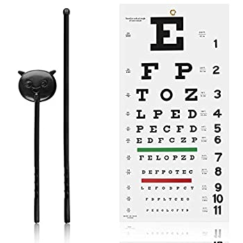 Eye Chart Snellen Eye Chart Set of Wall Chart with Hand Pointer 11 X 22 Inch Eye Exam Chart with Green and Red Lines for Kids