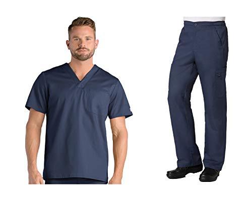 Maevn EON Active Men's One Chest Pocket V-Neck Top & Half Elastic 8-Pocket Cargo Pants Scrub Set (Large, Navy)