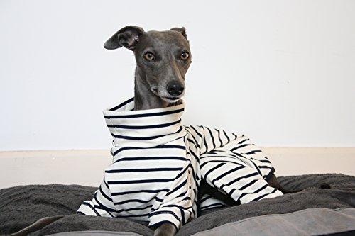 Pijama de rayas color crema y azul marino, Whippet, galgo, galgo italiano, verdugo, galgo, galgo, mirador, galgo, ropa de Saluki multicolor multicolor XS