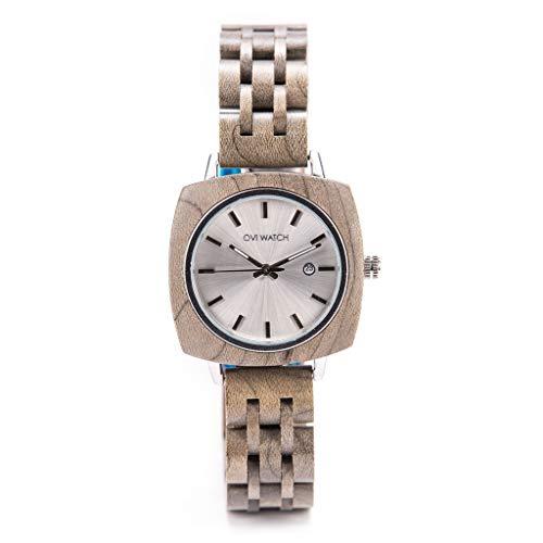 Ovi Watch - Holzuhr für Damen mit Gehäuse aus Holz, Datum, 36mm, Holz Armband, Analog