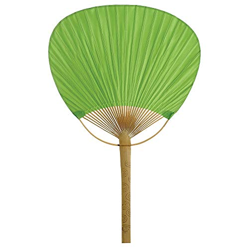 Cultural Intrigue Luna Bazaar Hand-Held Paper Paddle Fan (14.5-Inch, Chartreuse Green) - For Personal Use, Weddings, and Events
