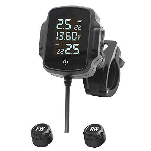 Bayda - Sistema de vigilancia de la presión de los neumáticos de moto TPMS Sistema de alarma de temperatura de los neumáticos con cargador USB QC 3.0