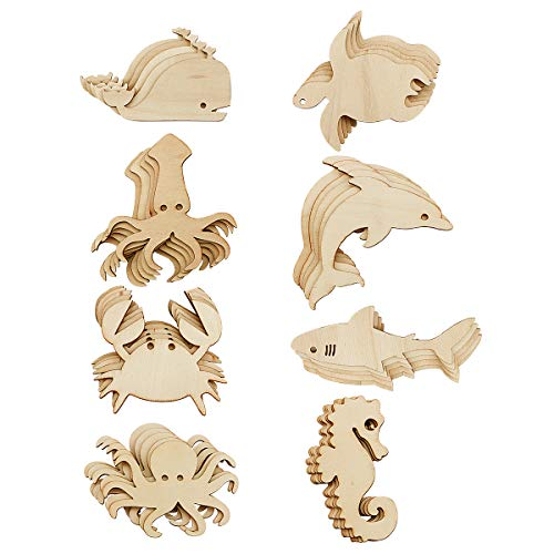 Newbested 48 Pack Unfinished Wooden Ocean Sea Animal Life Cutouts,Octopus,Shark,Whale,Dolphin,Turtle,Crab,Squid,Seahorse Shapes Model for Home Decor Ornament,DIY Craft Art Project(6 PCS/Shape)