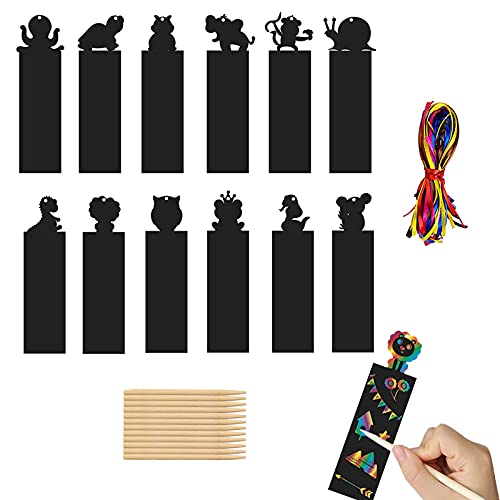 Segnalibro Scratch,Scratch Art Bambini,Arcobaleno da Grattare,con 48 Corde Colorate e 12 Penna in Legno,Feste/Scuola/Studenti/Forniture Artigianali per Bambini,108 Pezzi.