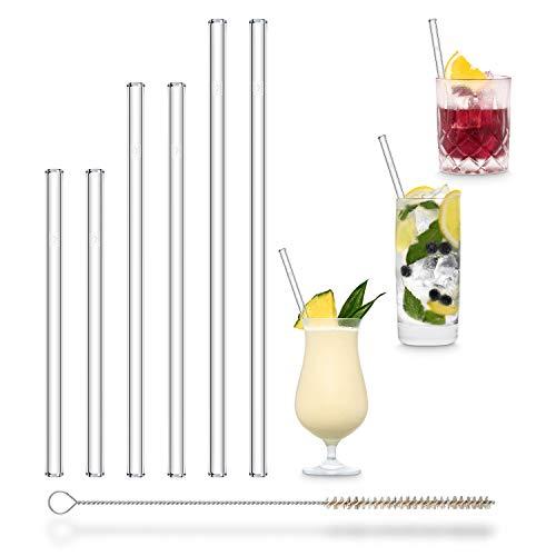 HALM Glas Strohhalme Wiederverwendbar Trinkhalm - 6 Stück, 3 Größen - Glastrinkhalme + plastikfreie Reinigungsbürste - Spülmaschinenfest - Nachhaltig Glastrinkhalme Glasstrohhalme - Cocktail Smoothie