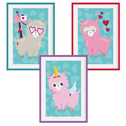 HappyWords® 3er Bilder Set - DIN A4 ohne Bilderrahmen | Bilder für Kinderzimmer & Bilder Babyzimmer | Junge Mädchen Baby | Kinder-Poster | Tiere Kinderbilder Kinderzimmer | 3er Set Lamas #26