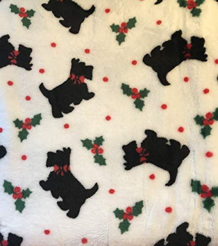 Berkshire Blanket Perfect Touch Velvetloft Plush Throw (Scotty Dogs and Holly)