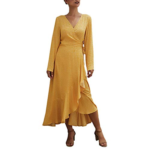 Damen Kleider Sommer Herbst V-Ausschnitt Lange Ärmel Strandkleid Freizeitkleid Jeanskleider Damen Stretch Boho Kleid Baumwolle Polyester Punkt Bedruckt Partykleid Maxikleid (EU:40, Gelb)