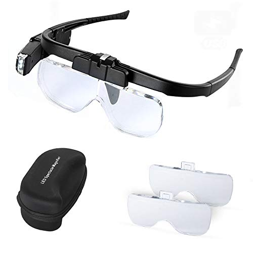 Head Mount Magnifier Glasses LED Light Hands Free with 3 Detachable Lenses - Rechargeable USB Headband Magnifying Glass for Reading Jewelry Craft Repair Hobby Close Work