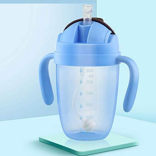 NO BAND 300ml Biberones de succión Tazas para bebés Biberón de Leche de Agua Biberón para bebés Entrenamiento para bebés con Asas-Azul