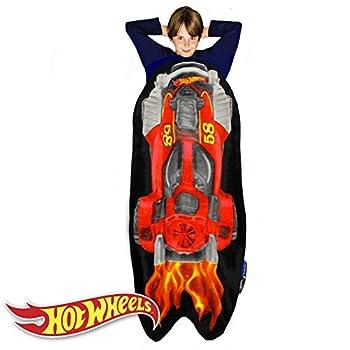 Blankie Tails | Hot Wheels Car Blanket - Double Sided Cozy Minky Fleece Blanket  Machine Washable Fun No Zipper Hot Wheels Wearable Blanket for Kids