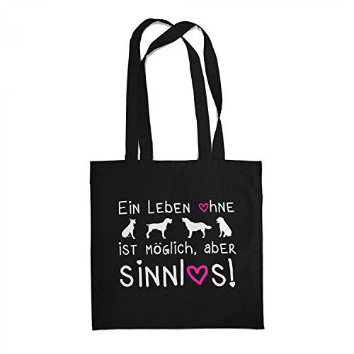 Fashionalarm Stoffbeutel - EIN Leben ohne Hunde ist möglich Aber sinnlos | Beutel Baumwolltasche Geburtstag Geschenk Idee für Hundefreunde, Farbe:schwarz