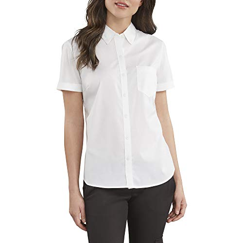 Dickies Women's Stretch Poplin Button-Up Short Sleeve Shirt, White, Large