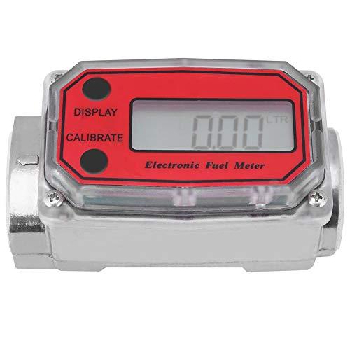 Elektronische Turbine Durchflussmesser, Kraftstoff-Durchflussmesser für Diesel Benzin Kerosin, mit Digital-LCD-Display, 1-Zoll-FNPT-Einlass/Auslass (Rot LLW-25)