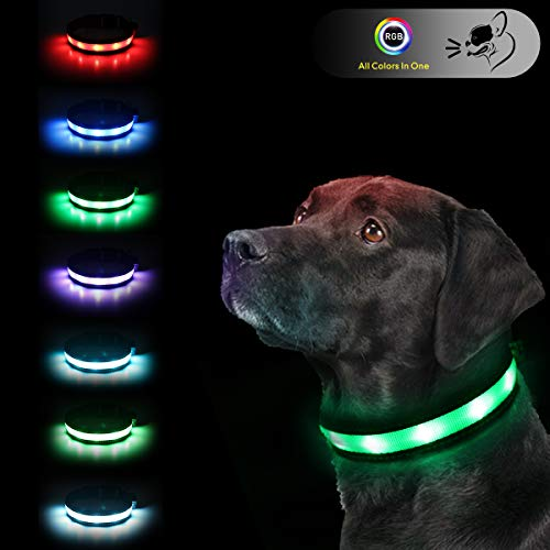 LED Safety Dog Collars - USB Rechargeable 7...