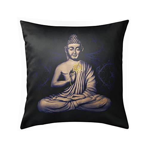 Seated Buddha in a Lotus Pose Pillow Cases Decorative Throw Pillow Covers Luxury Pillow Case for Sofa Home Couch Car Bedroom Decor Invisible Zipper Square 18x18inch