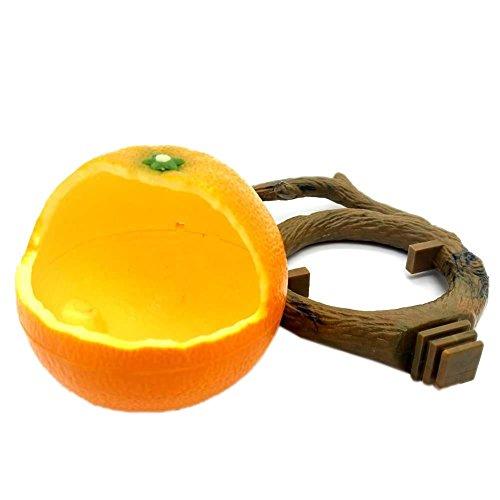 Comedero para pájaros Fruta del loro Forma de granada naranja Contenedor de comida Hamster Tazón de alimentación Pequeño animal Accesorios de jaula de pájaros Bandeja de alimentación deslizante