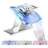 Bathroom Sink Faucet LED Light 3 Colors Changing Waterfall Glass Spout Hot Cold Water Mixer Single Handle One Hole Deck Mounted Bathroom Faucet Chrome Lavatory Vanity Basin Bath Plumbing Fixtures