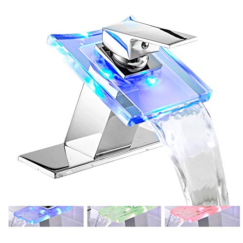 Bathroom Sink Faucet LED Light 3 Colors Changing Waterfall Glass Spout Hot and Cold Water Mixer Single Handle One Hole Deck Mounted Bathroom Faucet Chrome Lavatory Vanity Basin Mix Tap Commercial