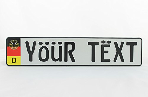German Germany Flag Eagle D Euro European EU License Plate Number Plate Embossed Custom White