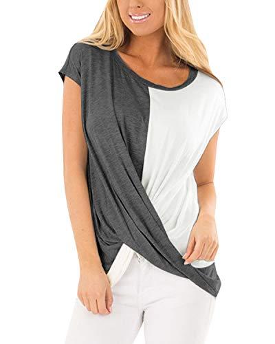 YOINS Sexy Oberteil Damen Sommer T Shirt Damen Farbblock Blusen Oberteile Farbverlauf Colorblock Bluse Cross Front Colorblock-Dunkelgrau M