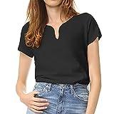 WOWENY Camiseta Mujer, Camisetas Manga Corta Mujer, Camiseta Deporte Mujer, Camiseta Blanca Mujer Negra Camiseta Mujer Verano como Atuendo Diario o Camiseta Corta de Golf