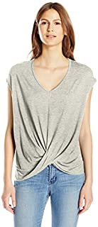 Paper + Tee Women's V-Neck Short-Sleeve Drape Neckline Top